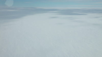 Aerial Ross Ice shelf empty interior, Ross Island, Antarctica