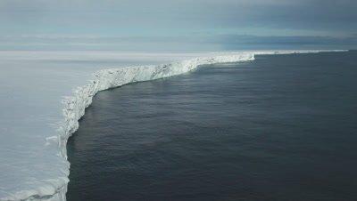 Aerial Ross Ice shelf empty interior, Ross Island, Antarctica