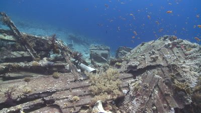 View along deck with toilet bowls on wreck of Thistlegorm, Antarctica