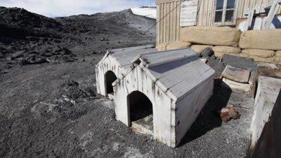 Dog kennels outside Shackleton's Hut, Ross Island, Antarctica