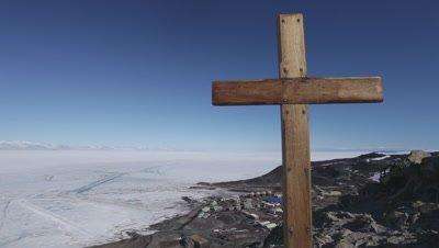 Cross on hill above McMurdo station, McMurdo Base, Ross Island, Antarctica