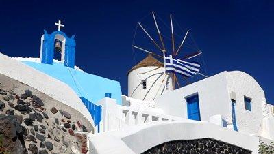 Church, Windmill and Greek Flag, Santorini, Greece