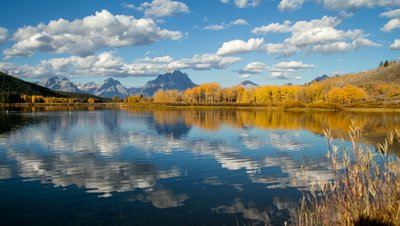 4K Time lapse of Oxbow Bend in Grand Teton National Park, as the water ripples, and clouds move by.