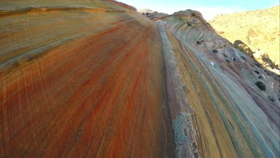 Gliding over the stripes in the sandstone near the Wave.