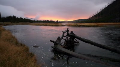 Sunrise along the Madison River in Yellowstone National Park.