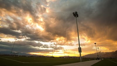 Time Lapse at Sunset from Soccer Field.