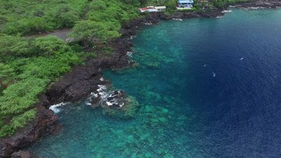 4k Aerial of the Kona Coast on the Big Island Hawaii with snorkelers