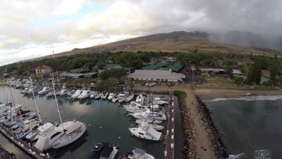 Aerial from sunset at Lahaina Harbor in Maui