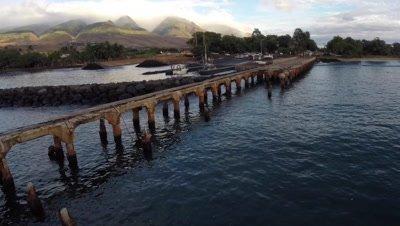 Aerial footage from Mala Wharf dive site Lahaina Maui Hawaii