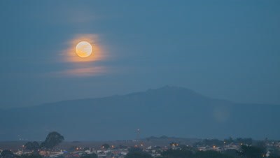 Moon rise over a small town in California in 4K