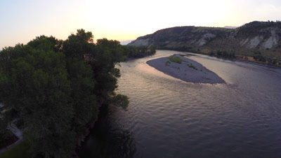 Aerial over the Yellowstone River outside of the park in Montana
