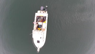 Aerial shot of an Albacore Tuna fishing sport boat with dead fish in the boat