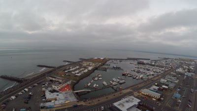 Aerial footage from the harbor in Westport Washington