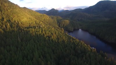 4K aerial of Pacific Northwest islands and forests in Nimmo Bay in the Broughton Archipelago in Canada