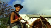 Local Tipical Horse Rider At Eastern Island Rapa Nui Hanga Roa