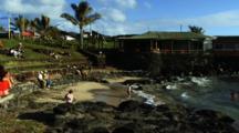 Hanga Roa Port, People Relax And Play, Easter Island, Rapa Nui