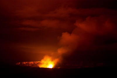 Kilauea volcano crater glowing and venting timelapse, Hawaii Volcanoes National Park
