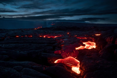 Slow lava flow down crack 2, Volcanoes National Park, timelapse