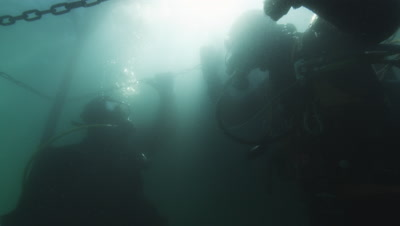 Work divers at scallop farm. Milky-white water from algea bloom in spring,species Emiliania huxleyi (Coccolithophoride)