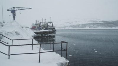 Winter in Kirkenes harbour,Northern Norway,near Russian border.