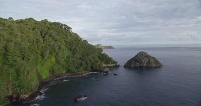 Flying around Cocos Island on left side