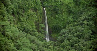 zoom in on waterfall in the middle of the rainforest