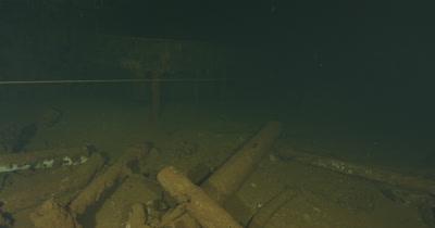 POV, traveling inside of wreck of USS Saratoga, close ups on furniture
