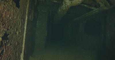 traveling through ship wreck hallway, old plumbing, piping and ductwork