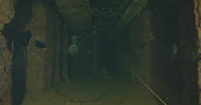 traveling through ship wreck hallway to helmet. USS Saratoga