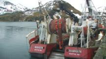 Bald Eagles Pick Food From Net On Trawler, Dutch Harbor, Alaska, Unalaska