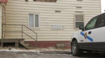 Police Station With Peeling Siding, Police Cars, Pribilof Islands St Paul