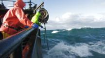 Crab Fishing Bering Sea - Fishermen Raise Crab Pot Full Of Opies, Wave Soaks Camera