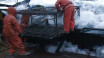 Crab Fishing Bering Sea - Fishermen Prepare To Launch Crab Pot, Rough Seas, Spray, Wave