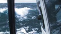 Crab Fishing Bering Sea - Cutaway Of Spinner Window, Big Waves In Background