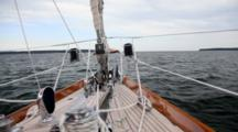 Pov From Bow, Travel On Sailboat