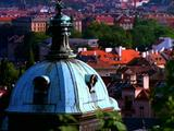 Cityscape Of Prague, Cupola In Foreground