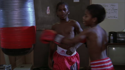 Teenagers Training At A Boxing Gym