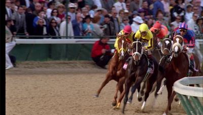 Horses Race Down The Track, Churchhill Downs, Kentucky Derby
