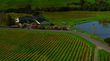 Aerial Over Napa Valley, Yellow And Green Crops, Over A Red Barn, Pond, Farms