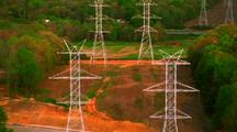 Aerial Power Lines, Power Towers Into Canyon
