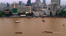 Looking Down On Chao Phrya River In Bangkok