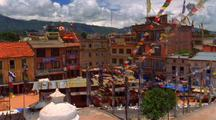 A Town In Nepal With Prayer Flags