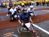 Wheelchair Athletes Begin Marathon, Including Father Pushing Son