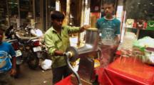 Vendor In Market Prepares Fruit Juice