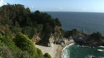 Waterfall Lands On Beach At Mcway Cove, Big Sur Coastline