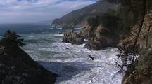 Waves Crash On Rocky Shore, Big Sur