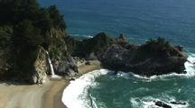 Waterfall Empties Onto Beach
