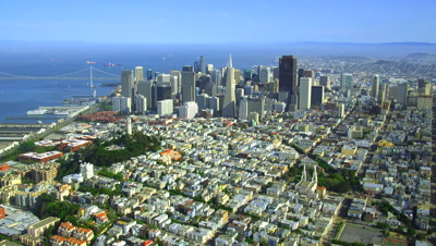 Aerial Downtown San Francisco And Bay