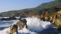 Slow Motion Waves Crashing On Shore