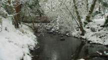 Small Stream And Bridge In Snow